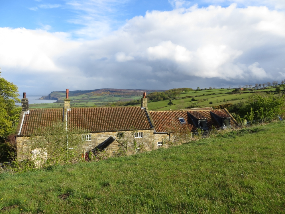 Skerry Hall Farm with Ravenscar beyond
