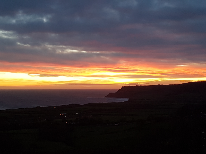 Winter sunrise behind Ravenscar  seen from Skerry Hall.
