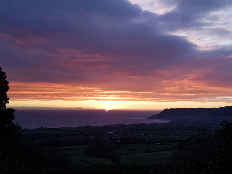 Sunrise over the sea from Skerry Hall.